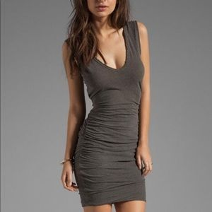James Perse Body Con Ruched Dress in Gray